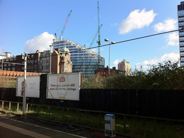 A new building goes up near Manchester Victoria station