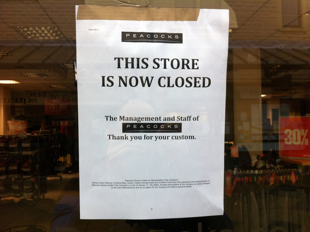 Notice at the closed Peacocks store, Woolshops Shopping Centre, Halifax