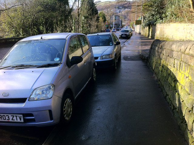 Pavement parking on Burnley Road, Hebden Bridge
