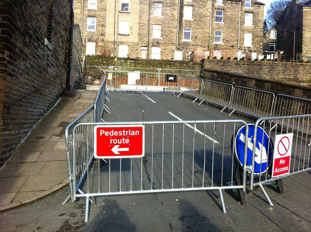 Barriers blocking Palestine Road, Hebden Bridge