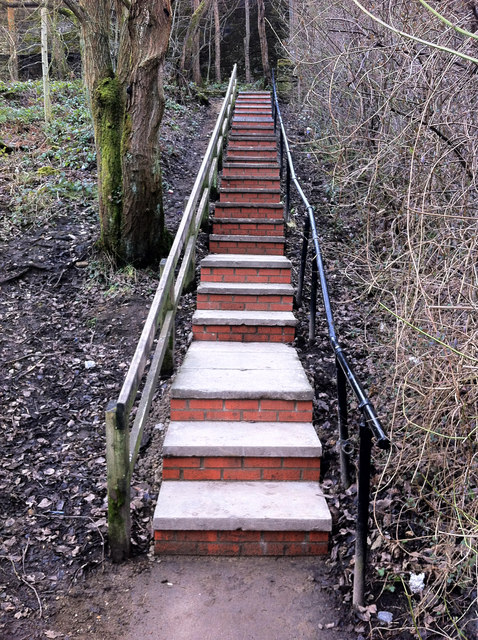 Rebuilt steps on footpath between Holme Street and Shelf Road, Hebden Bridge