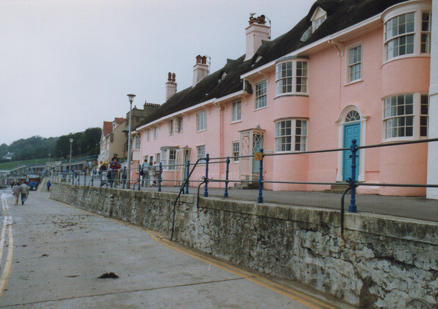Pink Cottages Lyme Regis 1989
