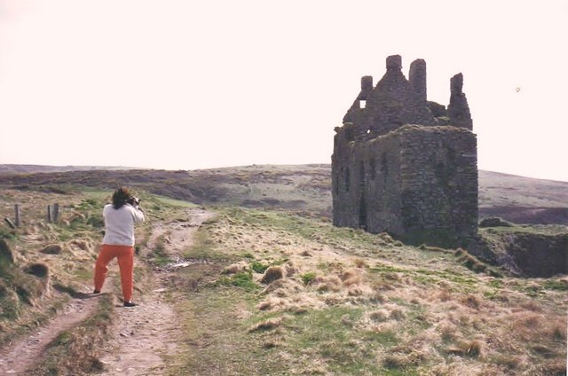 On the path to Dunskey Castle, June 1985