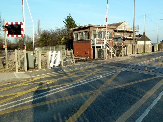 Level crossing and signal box at Dodworth Station