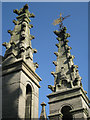 SP2864 : Pinnacles, St Mary's Church tower: 2 by Robin Stott