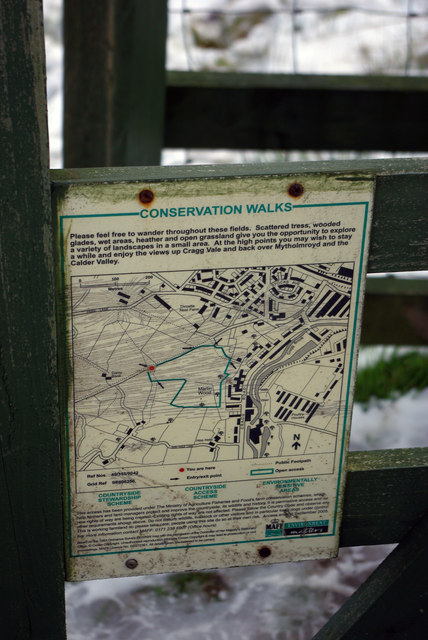 'Conservation Walks' notice above Martin Wood, Mytholmroyd
