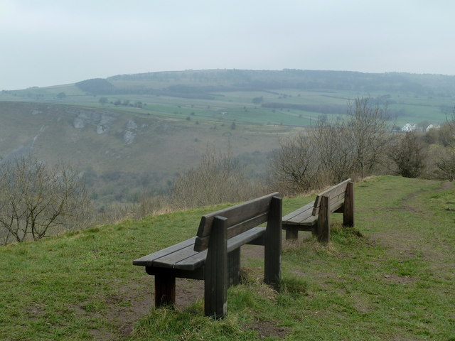Seats with a view over Monsal Dale
