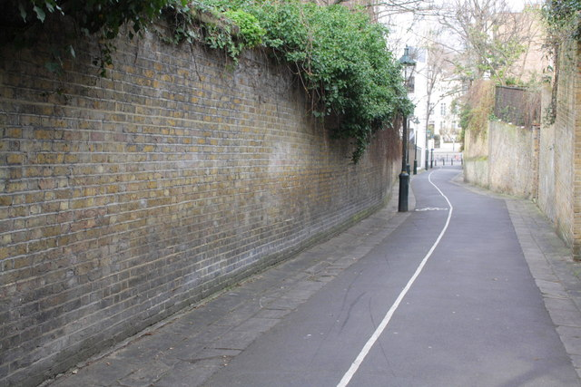 View down Holland Walk towards Holland Park Avenue