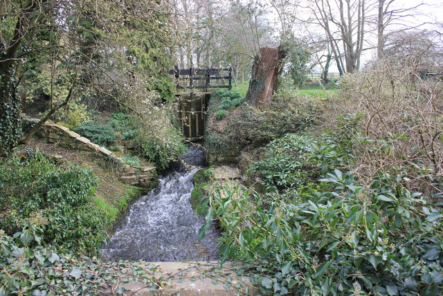 Midge Brook with sluicegate at The Mill, Mill Lane, Somerford Booths