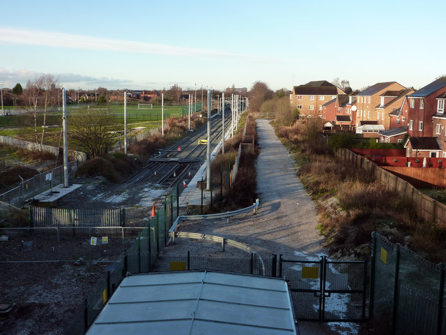 Current end of the Metrolink line near Mauldeth Road West