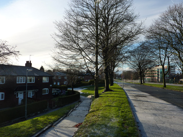 1920s council housing and Mauldeth Road West, Hough End, Chorlton