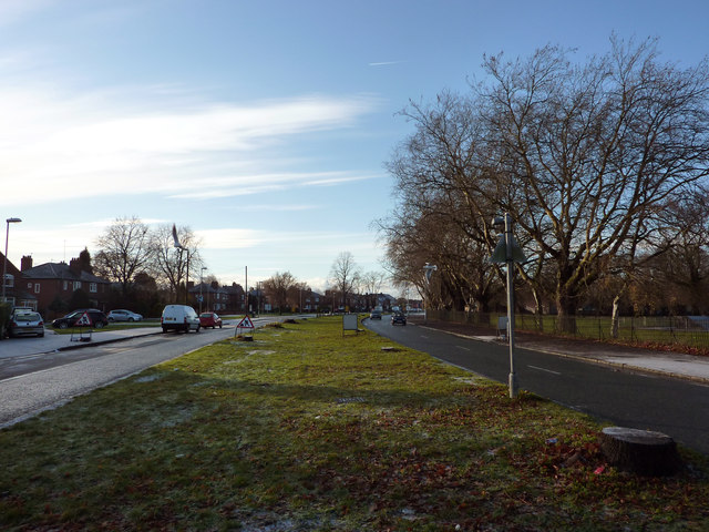Central reservation on Mauldeth Road West near Chorlton Park