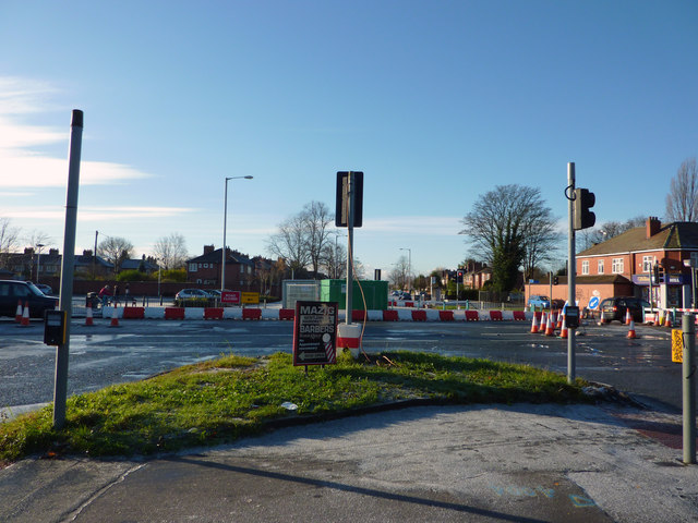 Road works at the junction of Barlow Moor Road, Mauldeth Road West and Hardy Lane, Chorlton