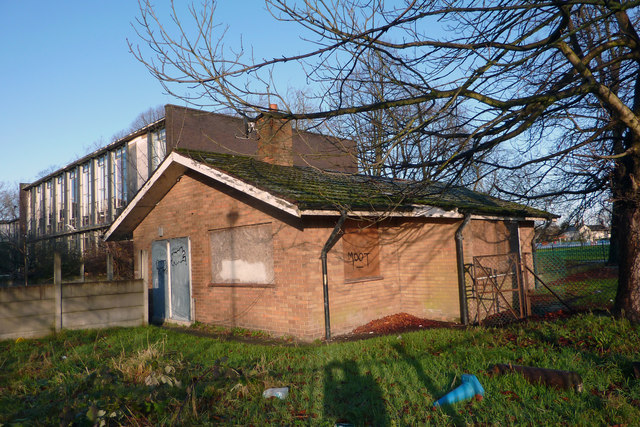 Disused bungalow at the former Chorlton Park Secondary School, Mauldeth Road West