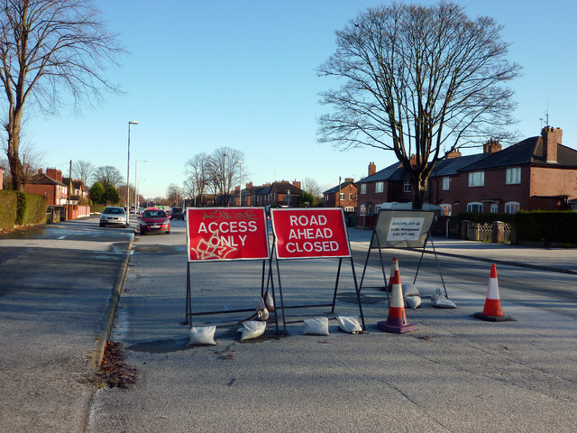 Road closure signs on Hardy Lane, Chorlton