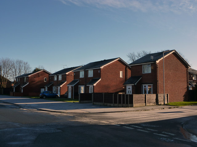 Houses at the south west end of Hardy Lane, Chorlton