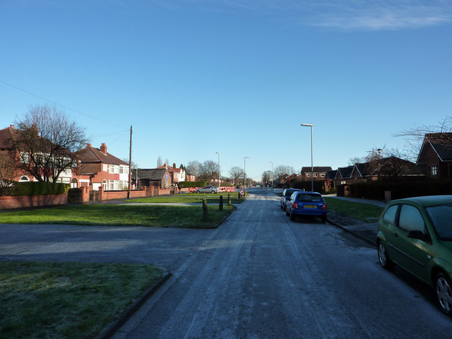 South west end of Hardy lane, looking in the direction of Barlow Moor Road