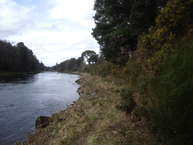 Upstream River Dee by the footpath