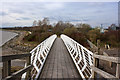 SJ4983 : The footbridge over Ditton Brook and Stewards Brook by Ian Greig