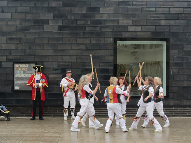 Morris Dancers outside the Jerwood Gallery