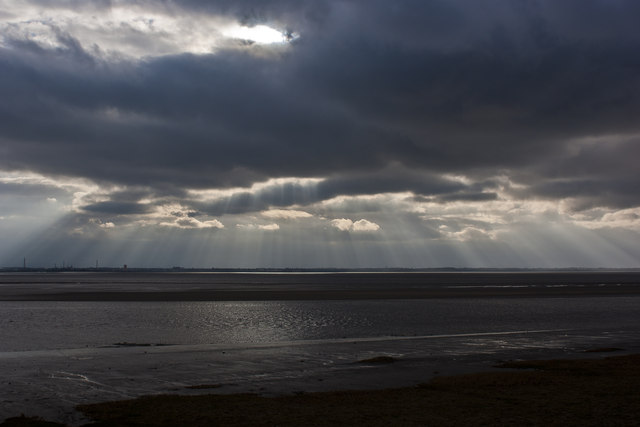The Mersey estuary and sunrays