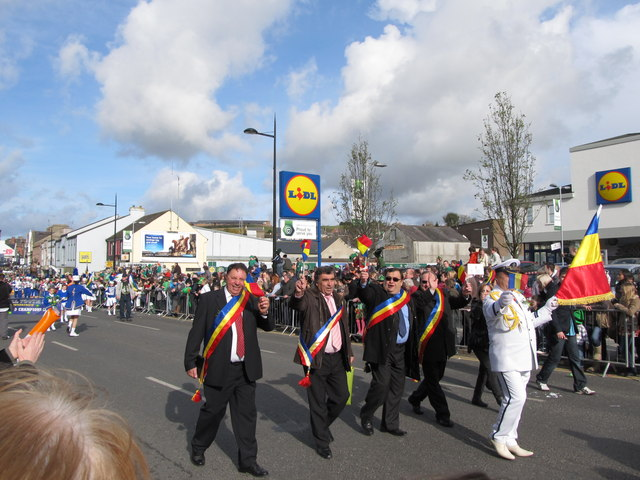 The Rumanian Delegation marching in the Downpatrick St Patrick's Parade