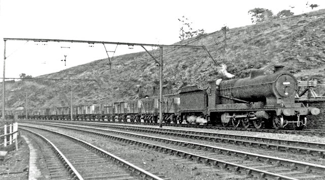 Down coal train approaching Dunford Bridge