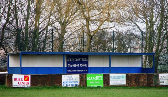 Main stand, Climping Playing Fields, home of Clymping FC