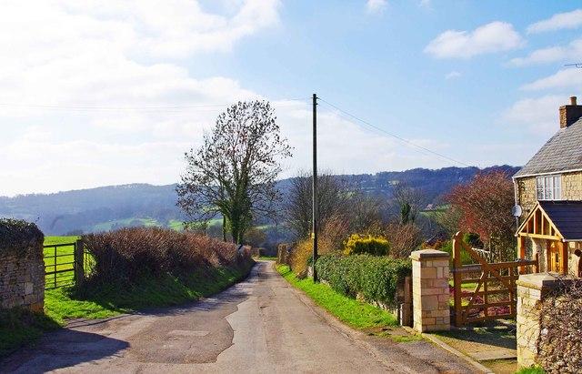 Lane near Church of St. James the Great, Cranham