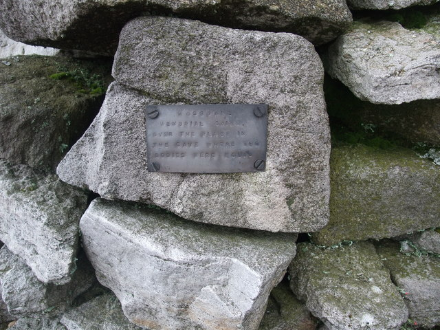 Plaque on the Mossdale memorial cairn