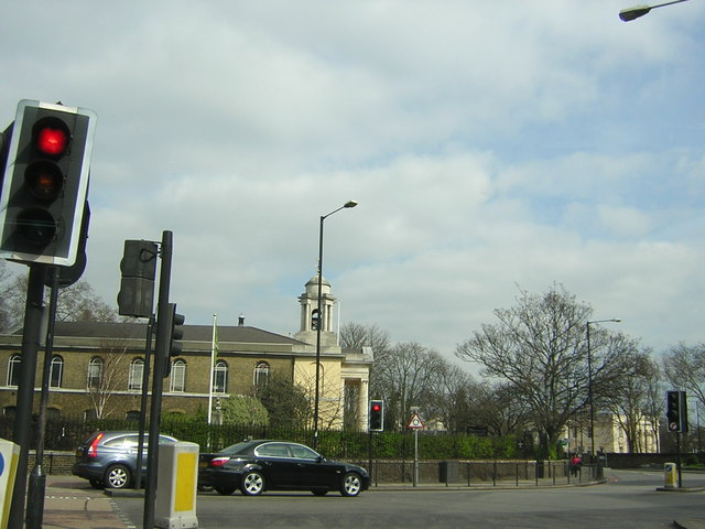 St John's Wood parish church, seen through a mess of street furniture