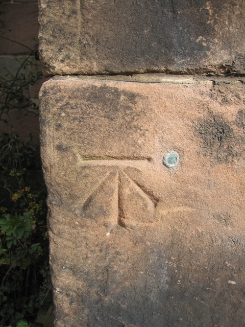 Bench mark and bolt on St Boniface's church