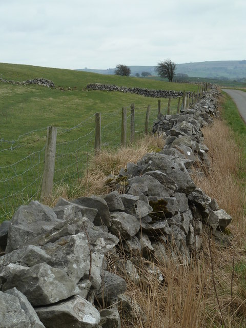 Dry stone wall by the lane to Wheston