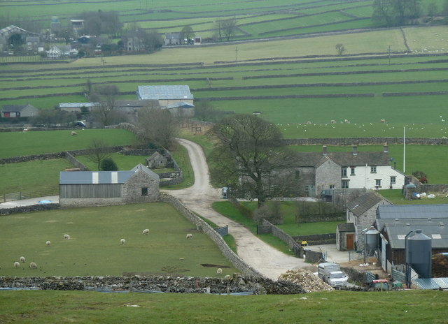 View down to farms on Eldon Lane