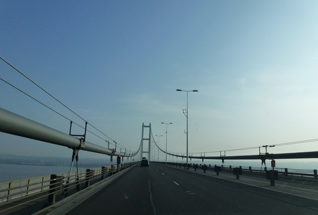 In the middle of the Humber Bridge
