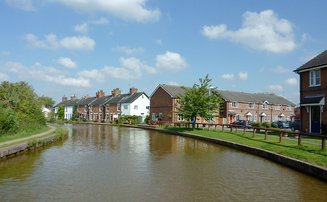 Canal and housing at Rode Heath, Cheshire