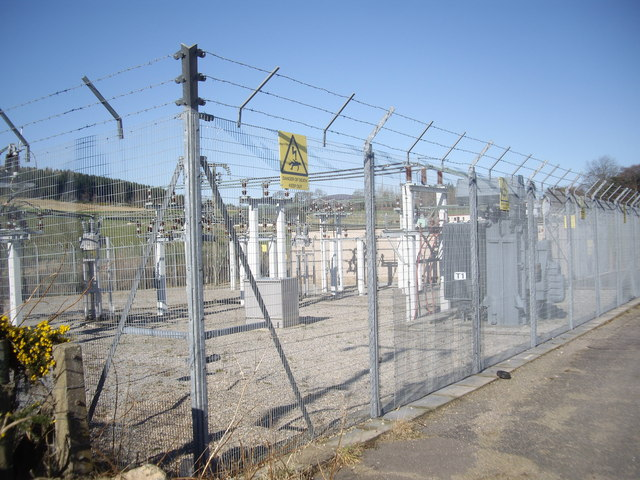 Midmar Electricity Sub-station; securely fenced.
