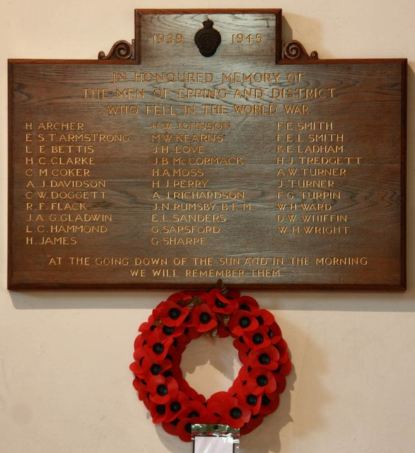 St John the Baptist, Epping - War Memorial WWII