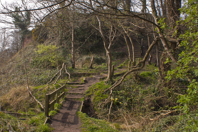 The Mersey Way, the path climbs