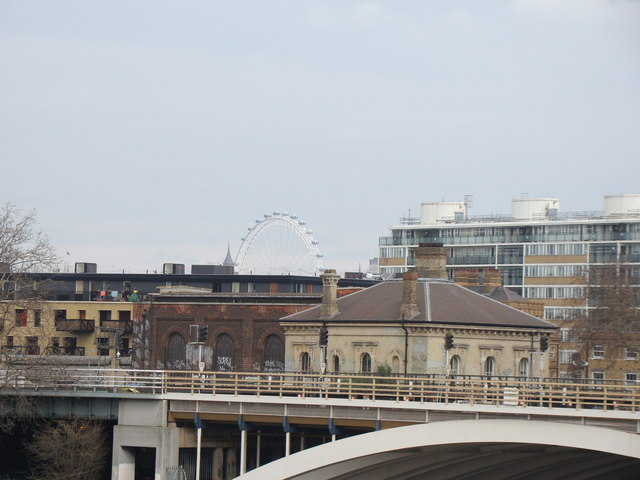 View of the London Eye from Chelsea Bridge