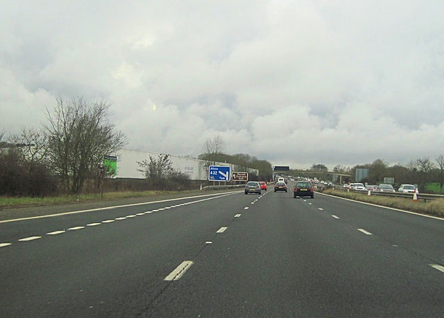 Warning signs for junction 10 M27 west