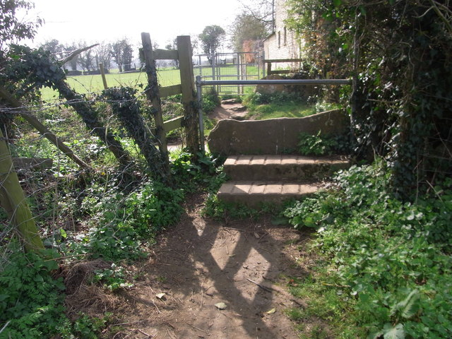 An old stile either side of the lane in Cerney Wick
