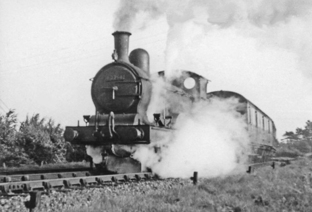 Ex- GE 2-4-0 on Cambridge train leaving Marks Tey