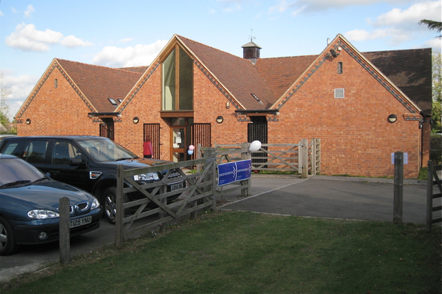 Car park entrance at rear of rebuilt village hall