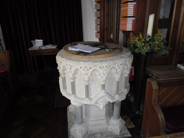 Christ Church, Colbury: paschal candle by the font