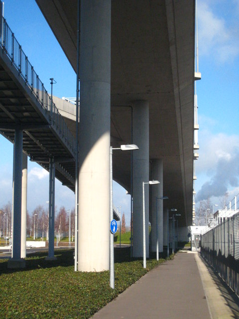 Under the access ramp to Terminal Five