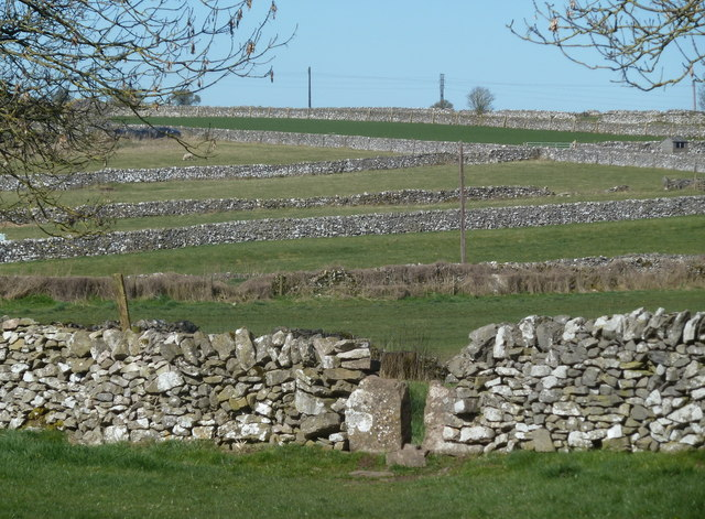 Small fields and limestone walls near Monyash