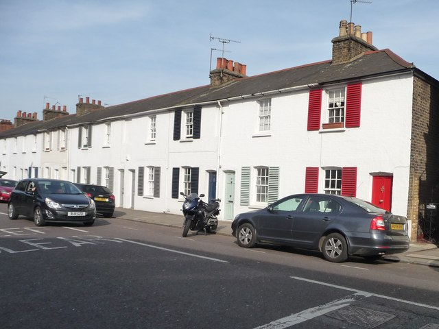 Terraced houses with colourful shutters