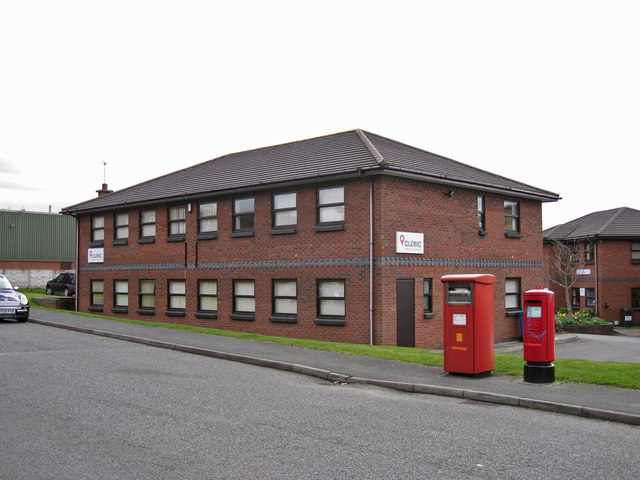 Post boxes and office building, West Heath