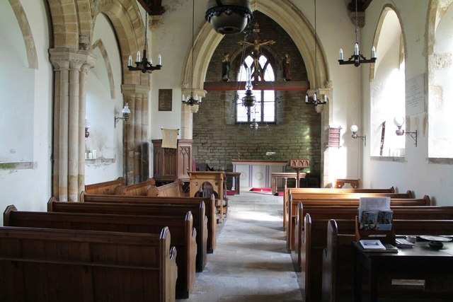 Interior, St Nicholas' church, Sapperton